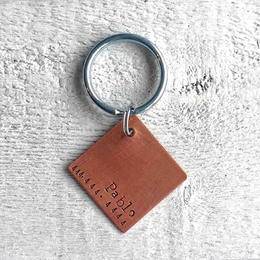 Modern Square Handmade Copper Artisan Dog Tag Medium