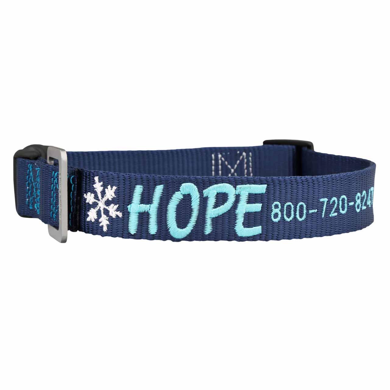 Custom Embroidered Christmas Dog Collars Navy Blue Snowflake