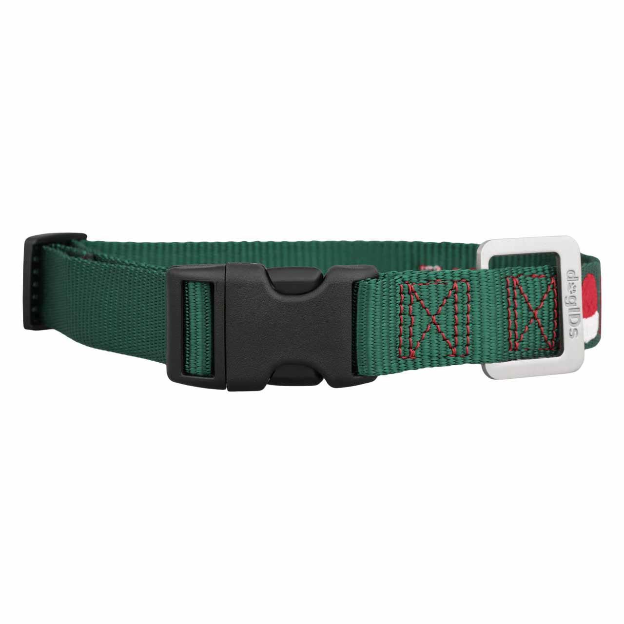 Custom Embroidered Christmas Dog Collars Hunter Green Santa Hat Backside