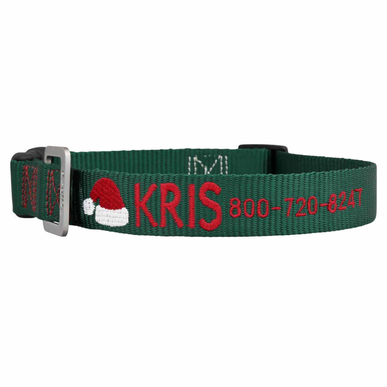 Custom Embroidered Christmas Dog Collars Hunter Green Santa Hat