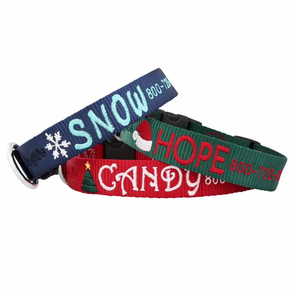Custom Embroidered Christmas Dog Collars Group Image