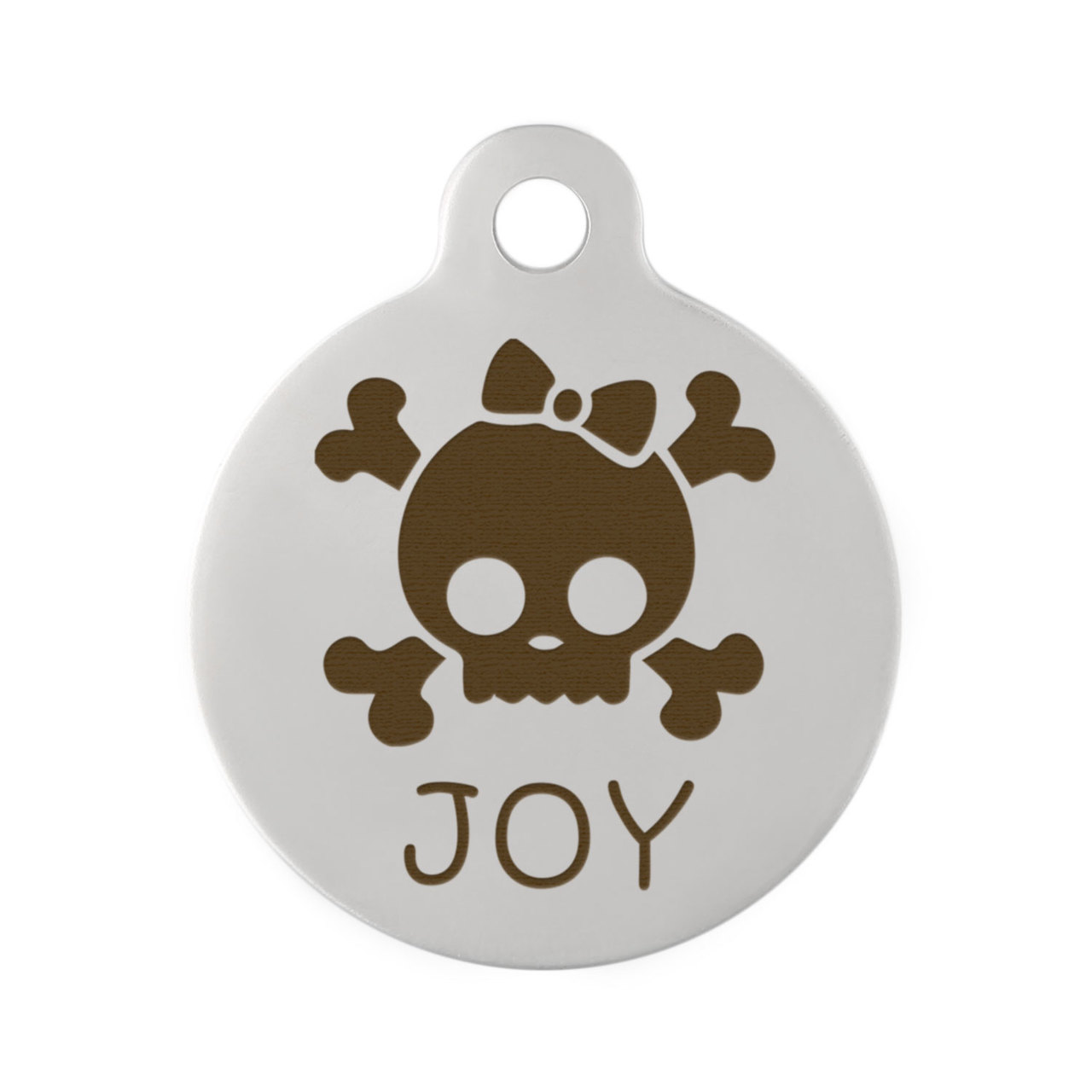 Skull Design Dog ID Tags - Stainless Steel Skull with Bow