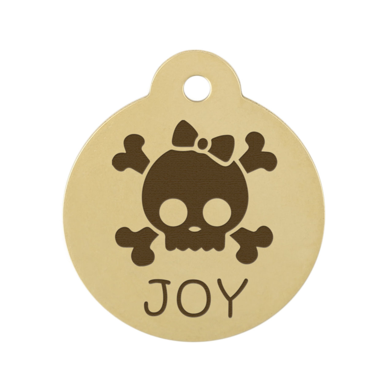 Skull Design Dog ID Tags - Brass Skull with Bow