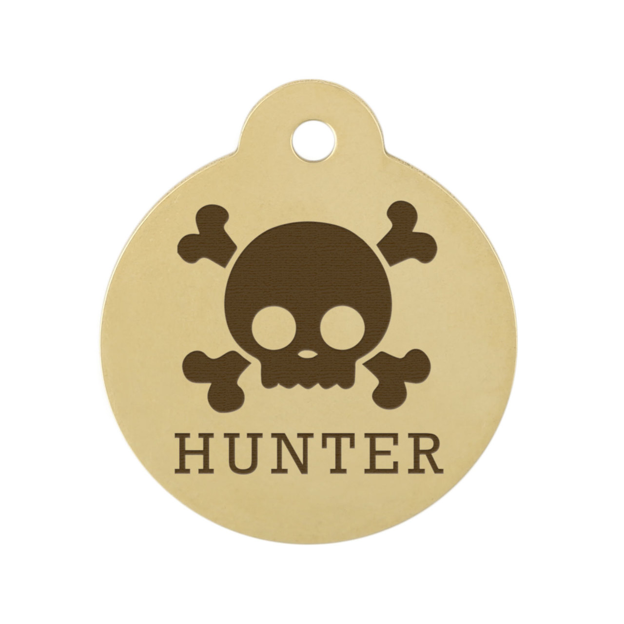 Skull Design Dog ID Tags - Brass Skull