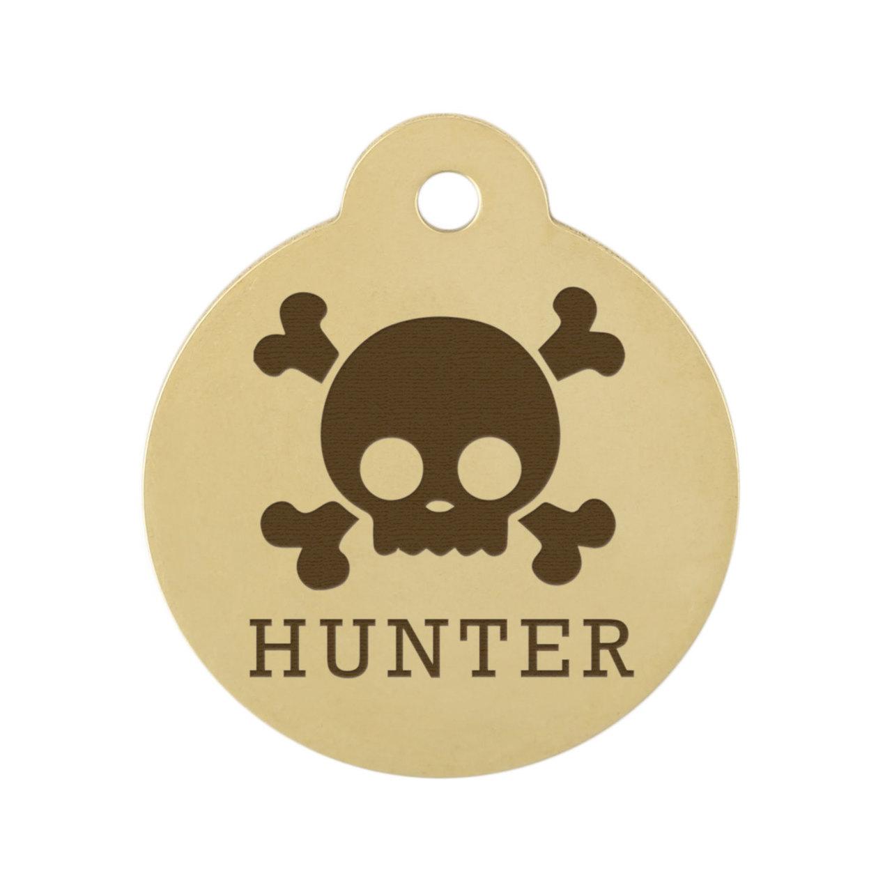 Skull Design Dog ID Tags - Brass Skull