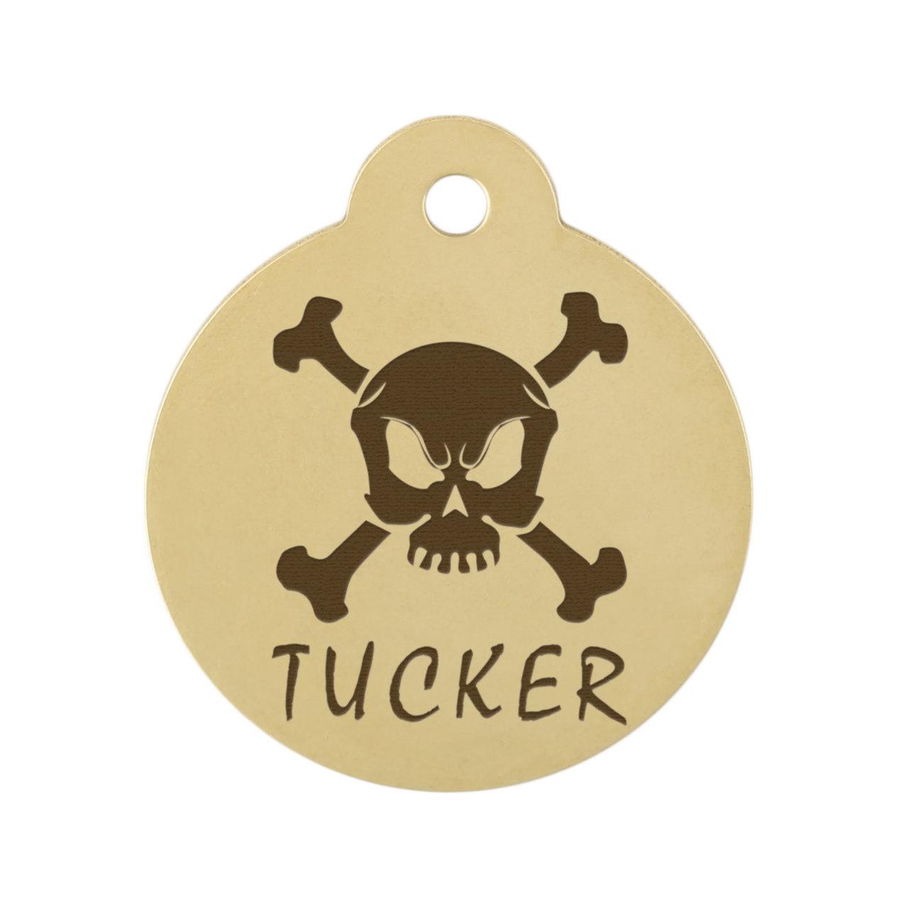 Skull Design Dog ID Tags - Scary Skull Brass
