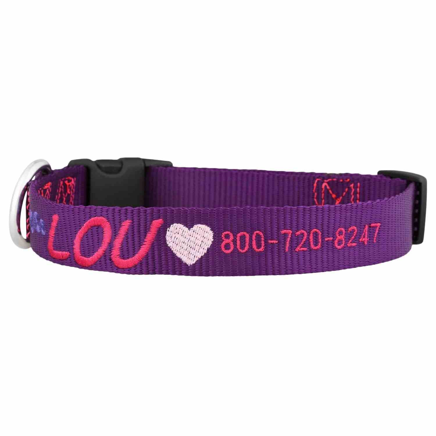 Embroidered Valentine's Day Dog Collars Purple Collar with Pink Heart