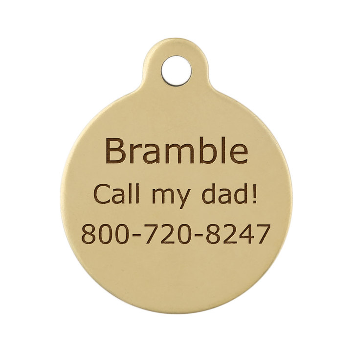 Sport Dog Round ID Tags - Backside of Brass Tag