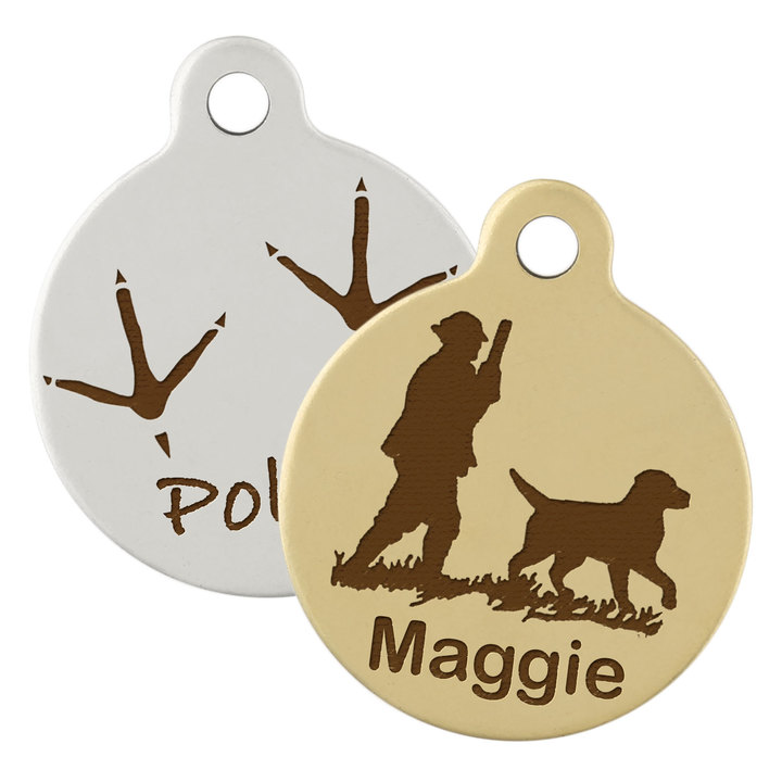 hunting round dog tag