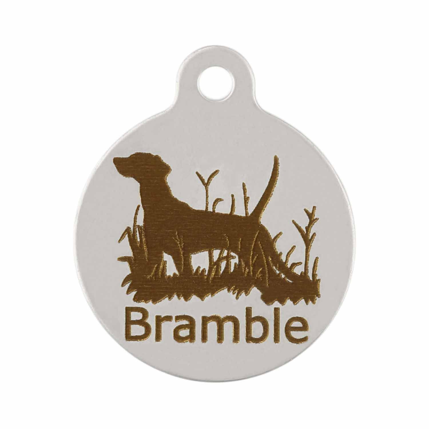 Dog in Field on Stainless Steel