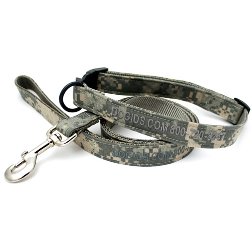 Embroidered Digital Camo Personalized Dog Leash