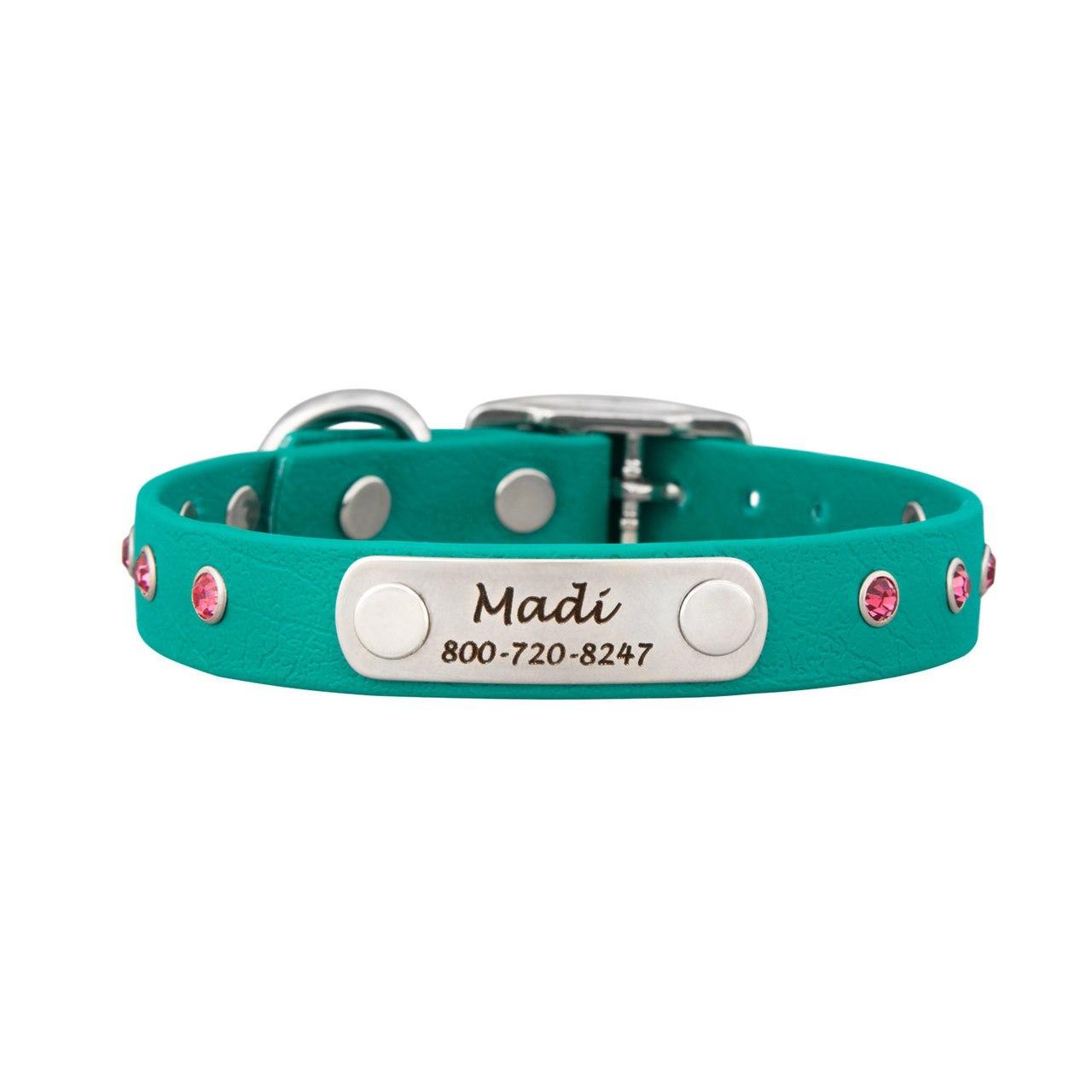 Jewel Series Rhinestone Small Dog Collar with Nameplate Teal with Pink Rhinestones