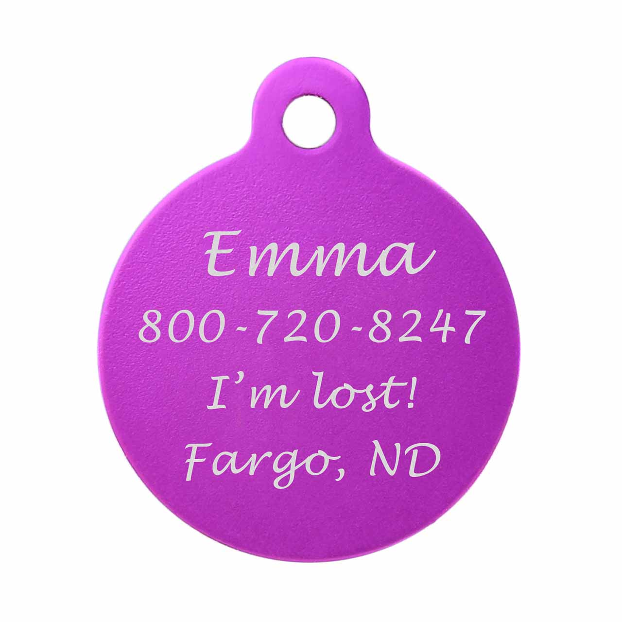 Round Colorful Dog ID Tag Purple