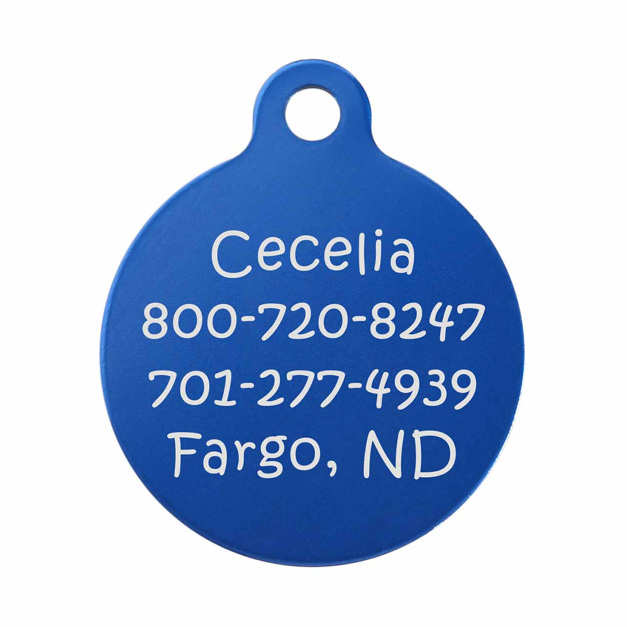 Round Colorful Dog ID Tag Blue