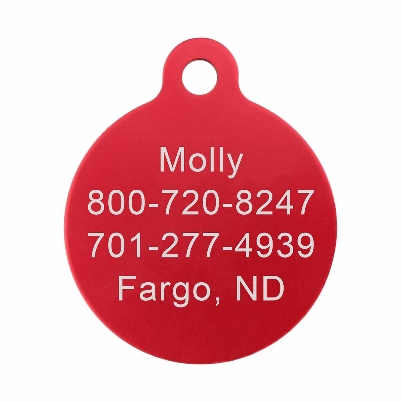 Round Colorful Dog ID Tag Red