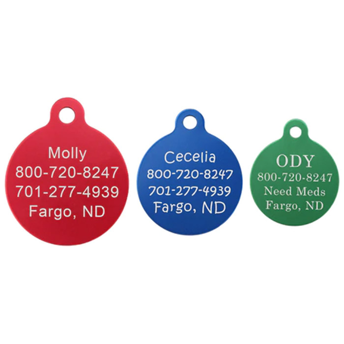 Round Colorful Dog ID Tags Three Tag Sizes