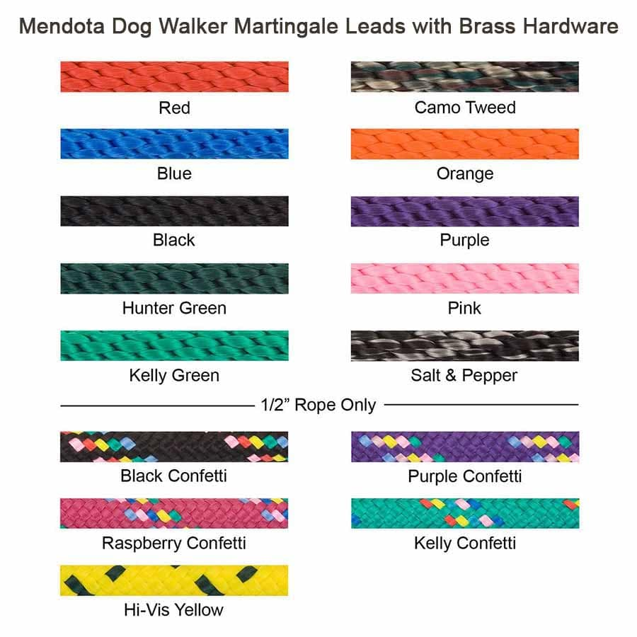 Mendota Dog Walker Martingale Leash Swatches
