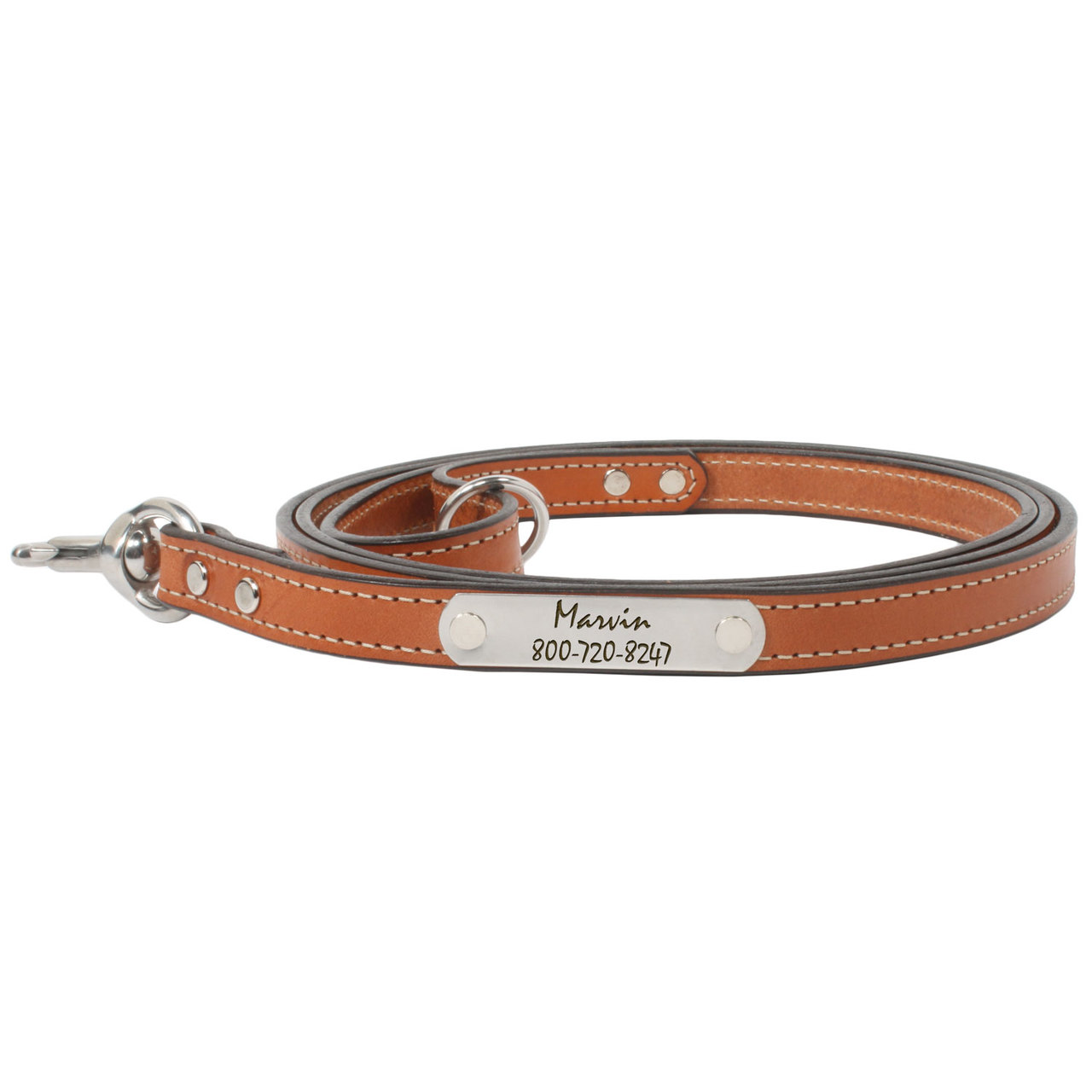 Personalized Bridle Leather Snap Leash - London Tan