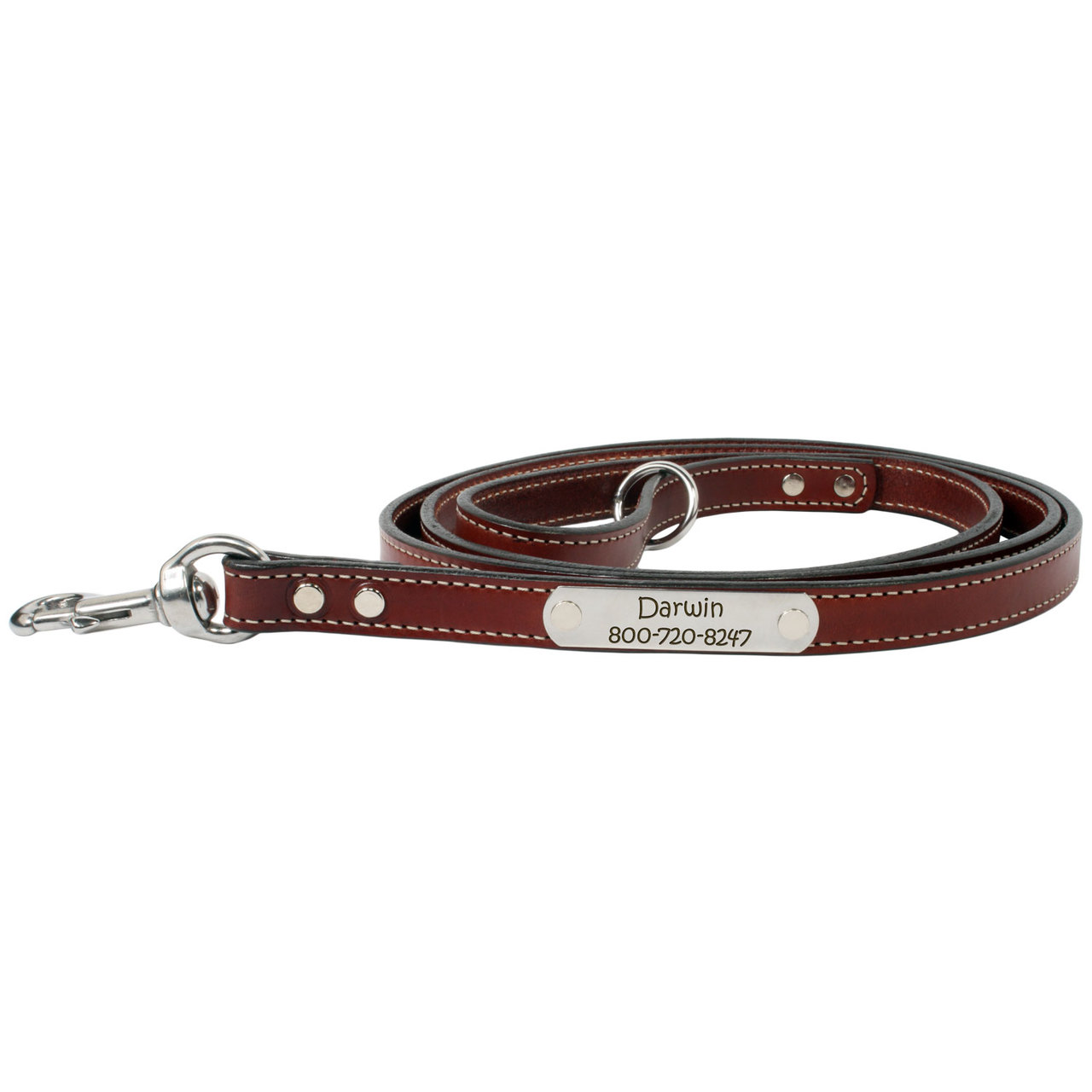 Personalized Bridle Leather Snap Leash - Chestnut Brown