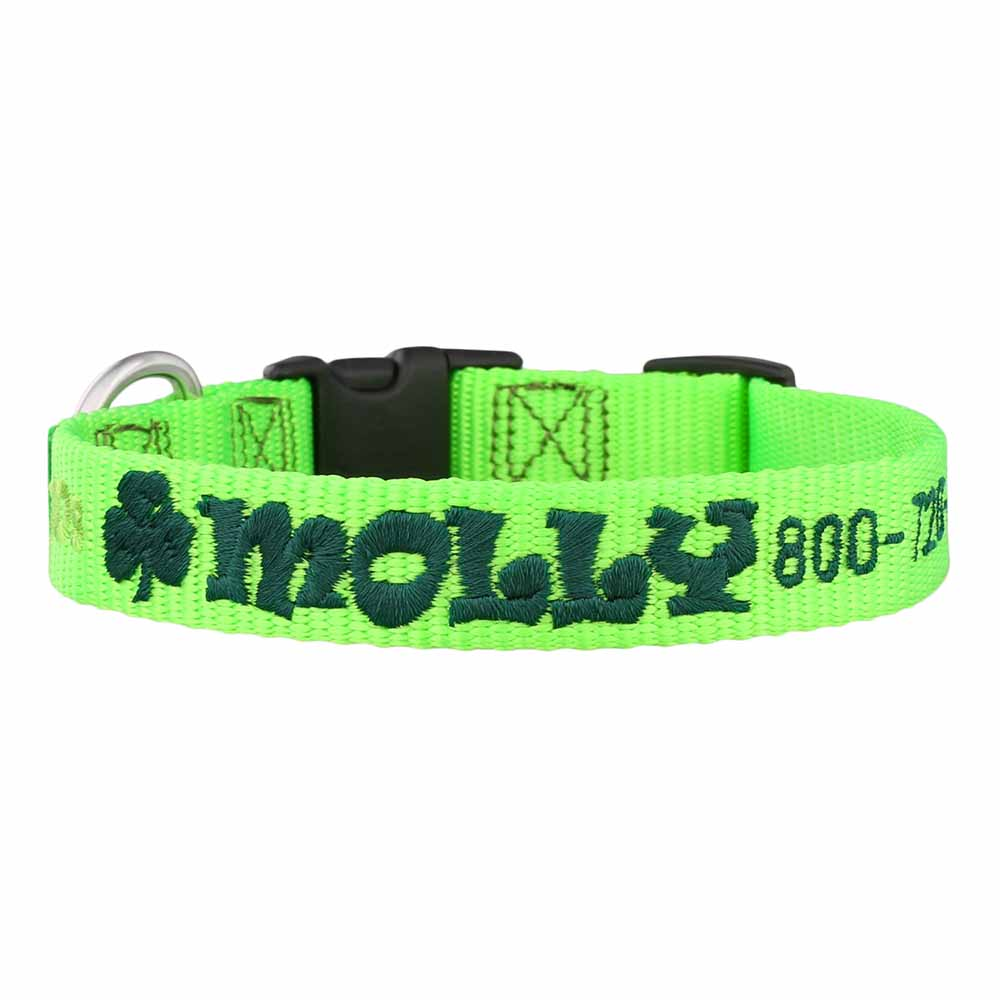 St. Patrick's Day Embroidered Dog Collar Lime Green