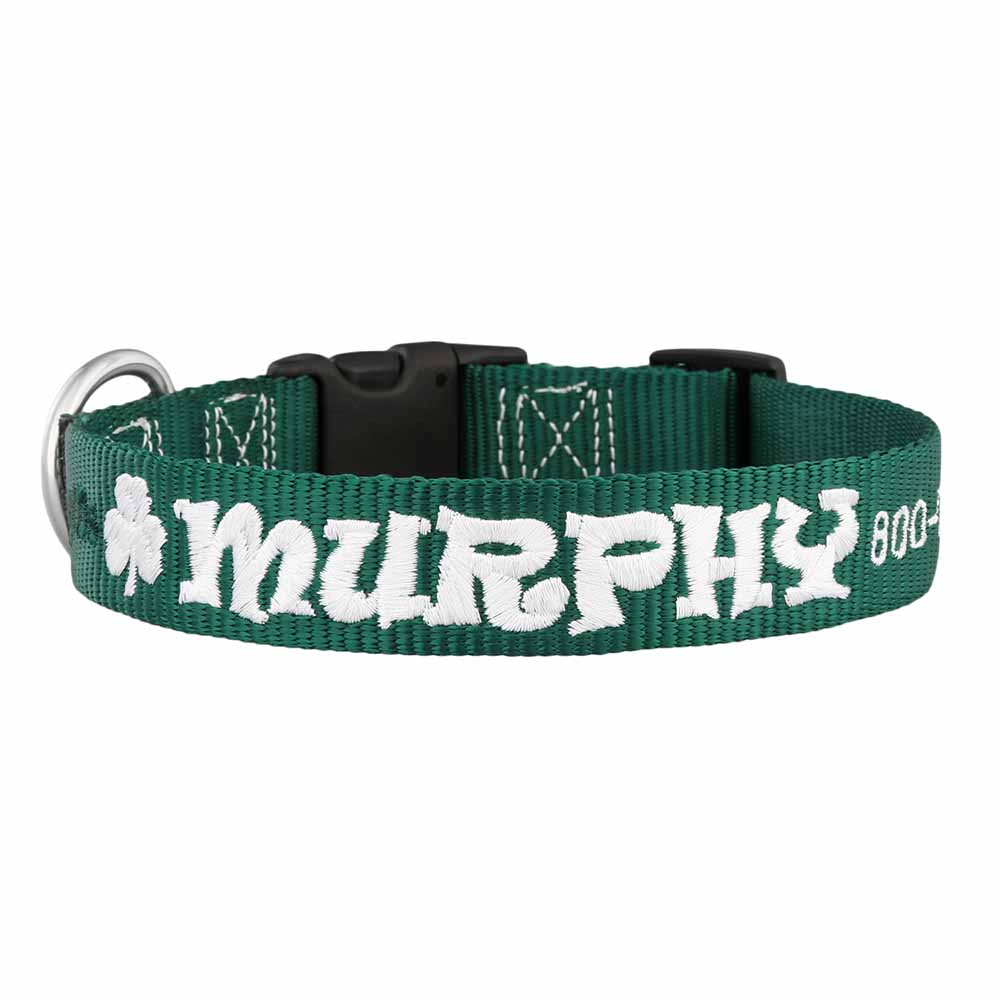 St. Patrick's Day Embroidered Dog Collar Hunter Green