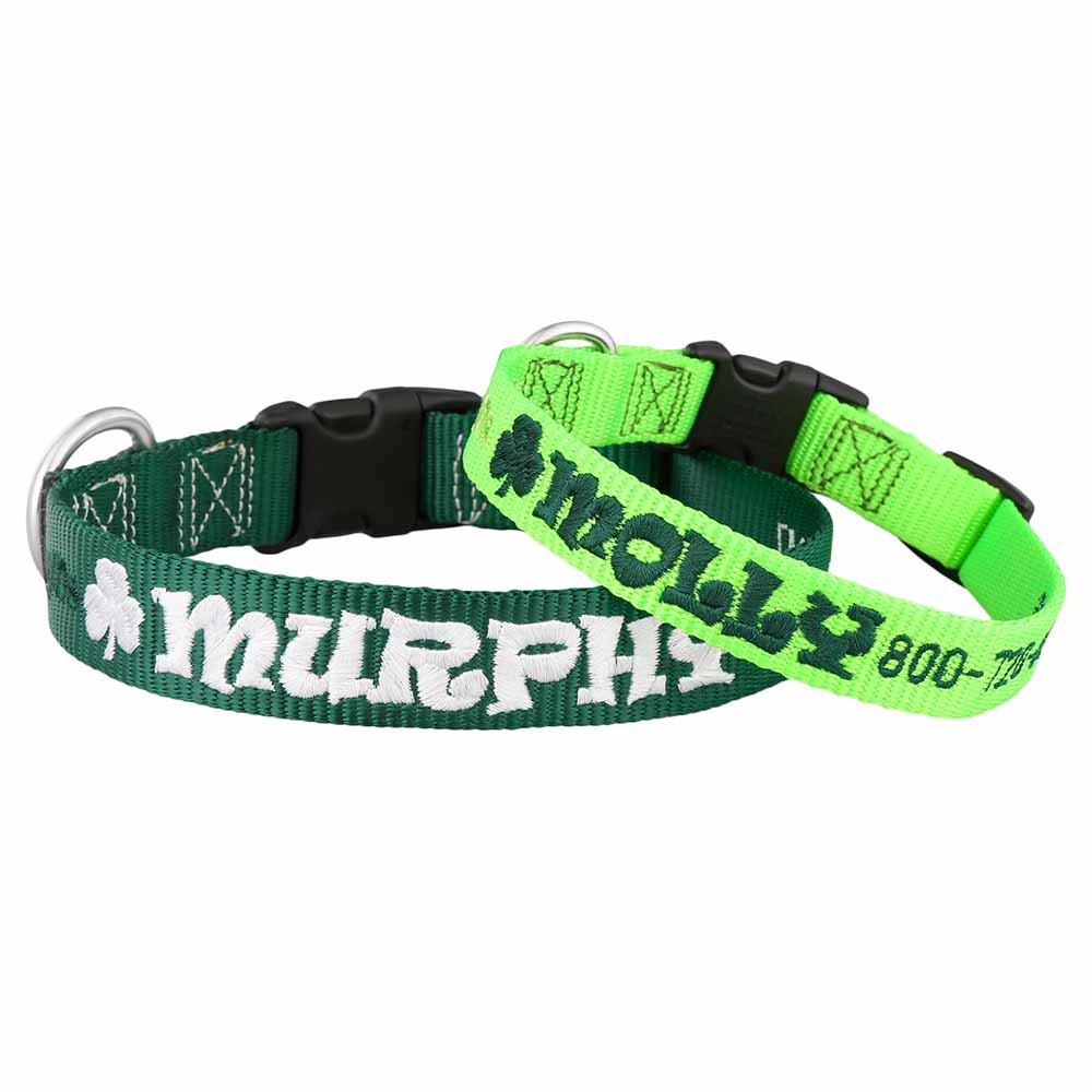 St. Patrick's Day Embroidered Dog Collars