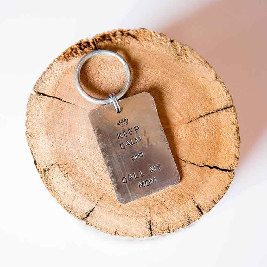 Keep Calm and Call My Mom Handmade Artisan Dog Tag - Silver Nickel