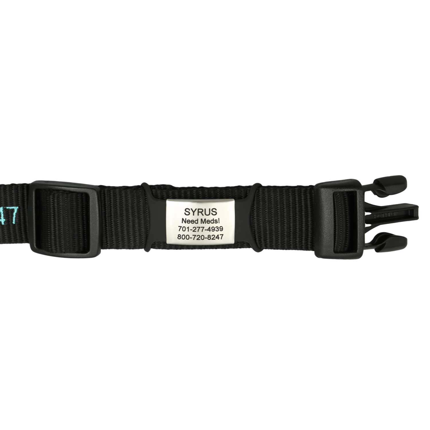 SleeveTag Name Plate with Silicone Strap on Nylon Collar