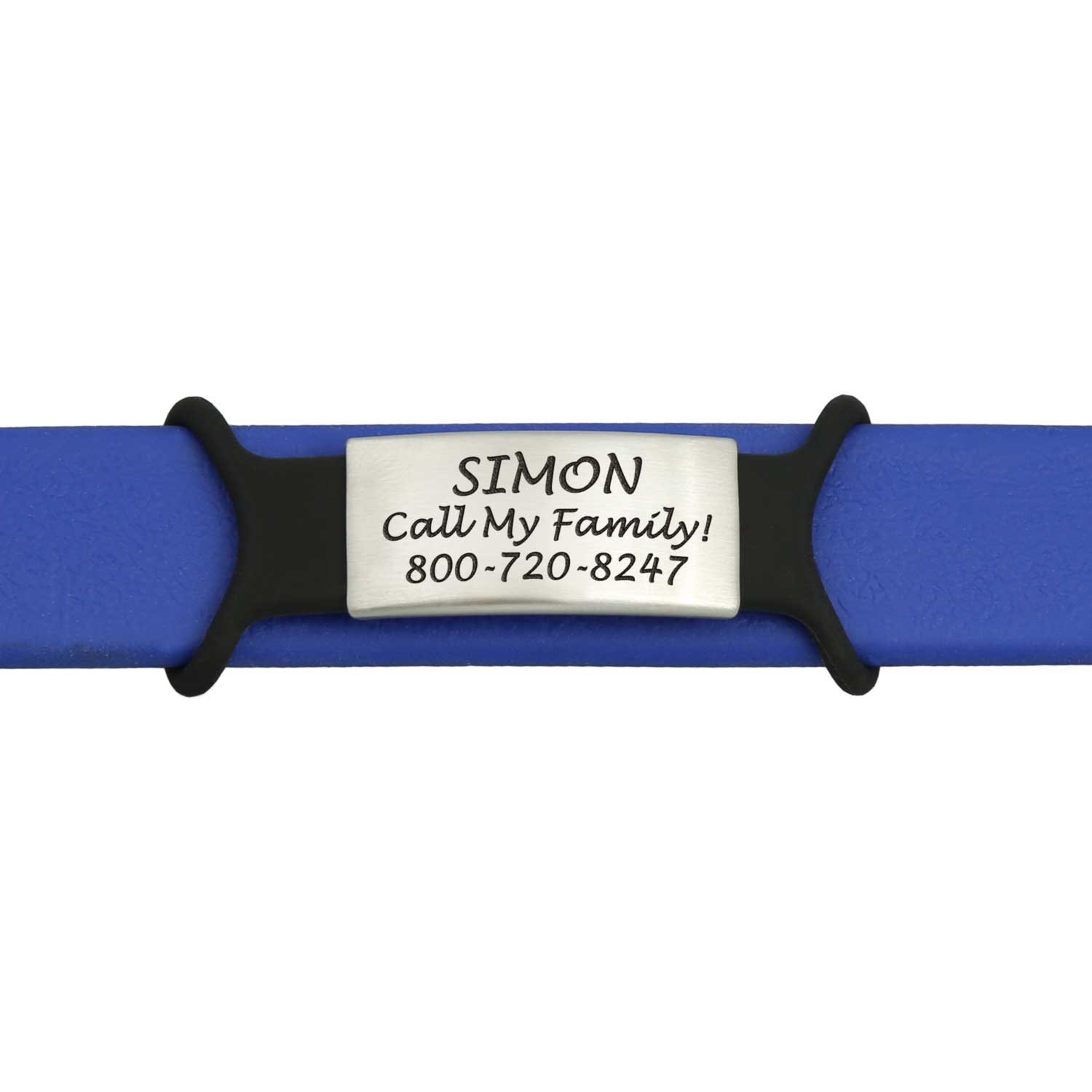 Slide On Pet ID Name Plate with Silicone Strap Small on Collar