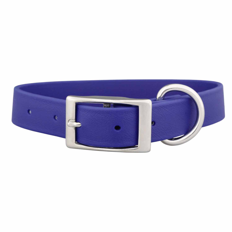Waterproof Soft Grip Dog Collar Blue Buckle View