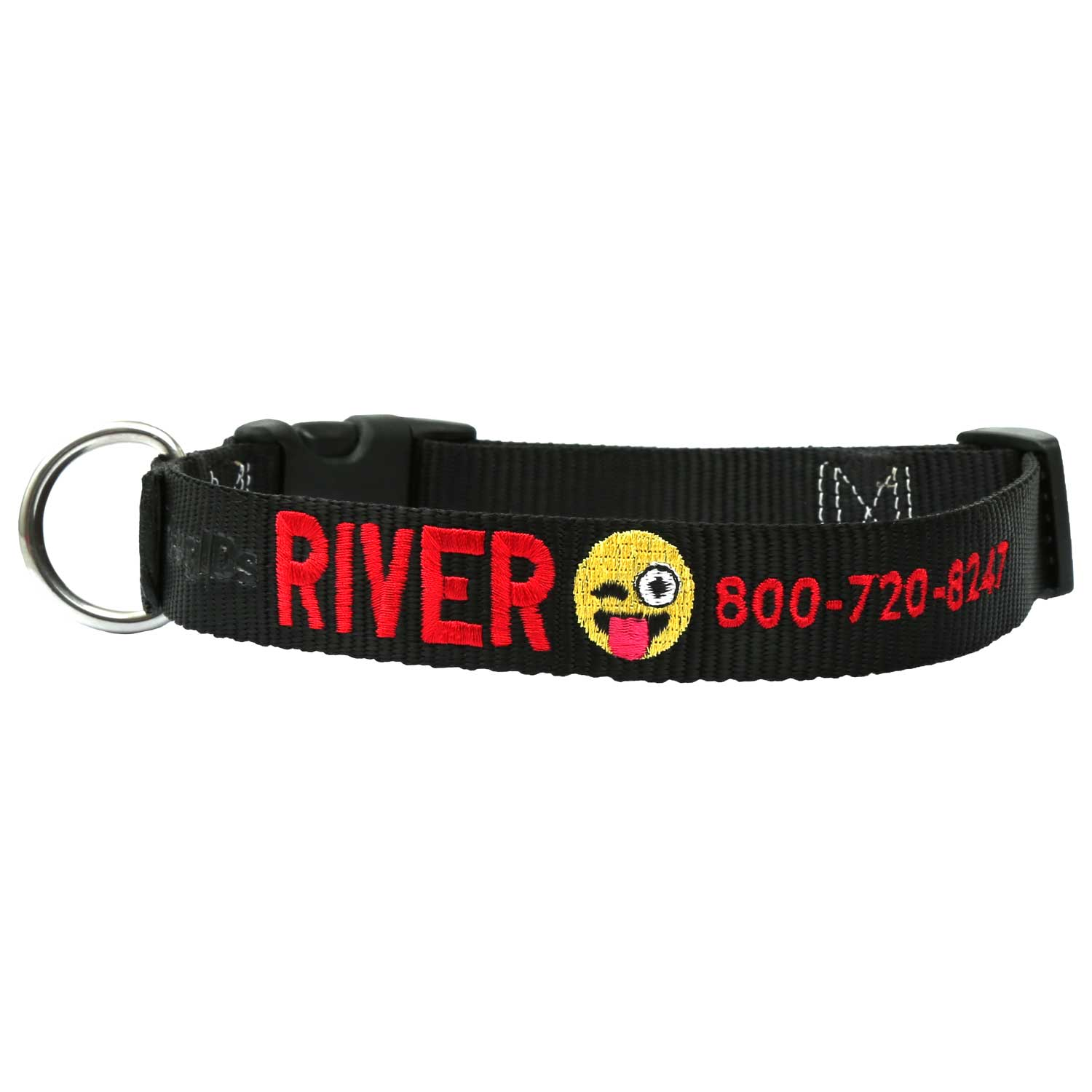 Custom Embroidered Emoji Dog Collar - Black Collar, Red Thread, Winking Face with Tongue Emoji