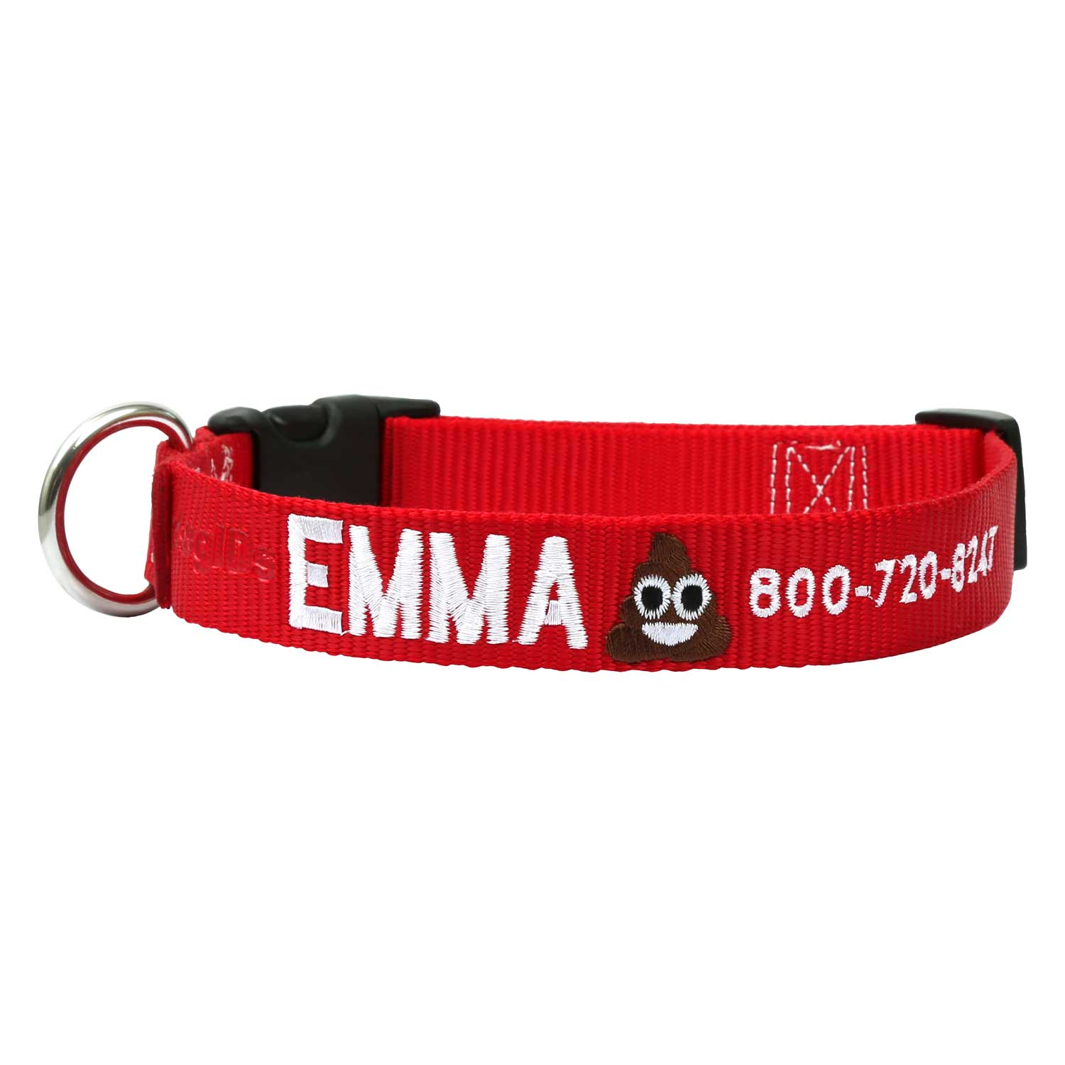 Custom Embroidered Emoji Dog Collar - Red Collar, White Thread, Pile of Poo Emoji