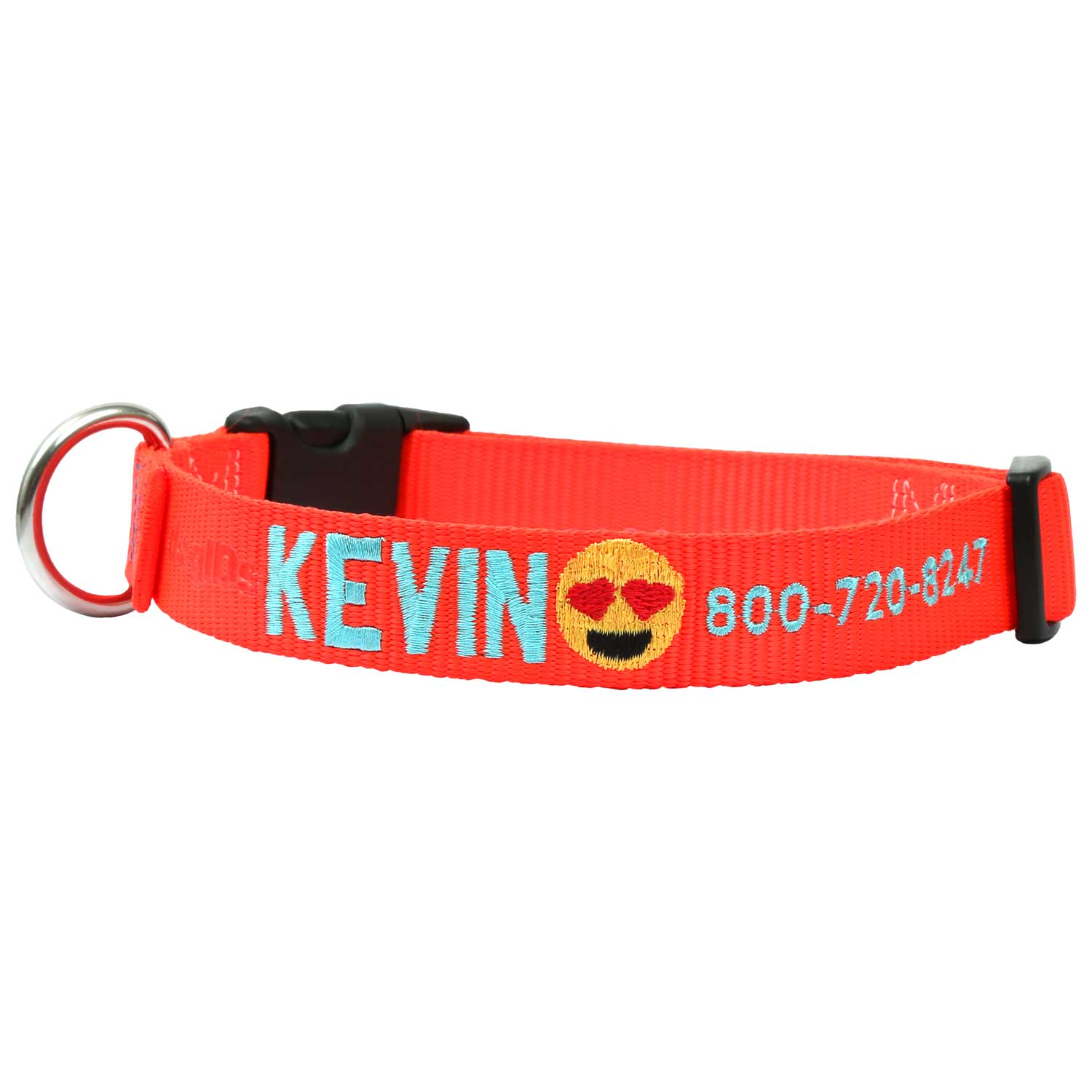 Custom Embroidered Emoji Dog Collar - Orange Collar, Turquoise Thread, Smiling Face with Heart Eyes Emoji