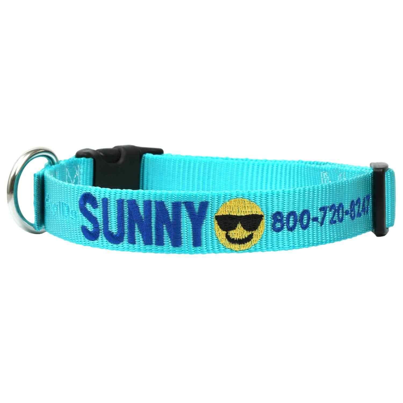 Custom Embroidered Emoji Dog Collar - Turquoise Collar, Blue Thread, Smiling Face with Sunglasses Emoji