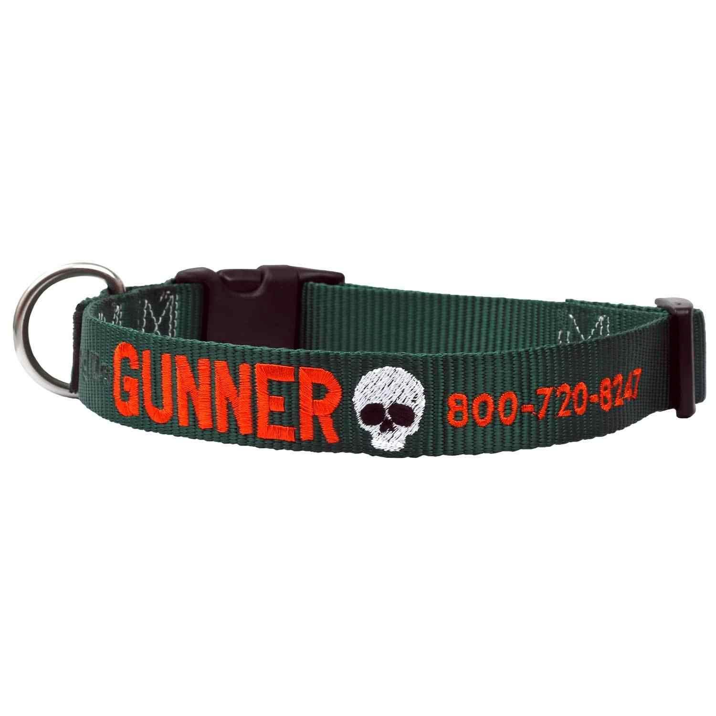Custom Embroidered Emoji Dog Collar - Hunter Green Collar, Orange Thread, Skull Emoji