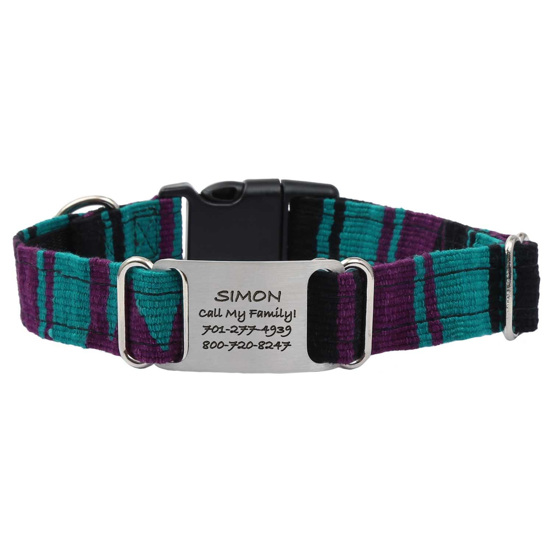 Personalized Maya Woven ScruffTag Dog Collar - V-2