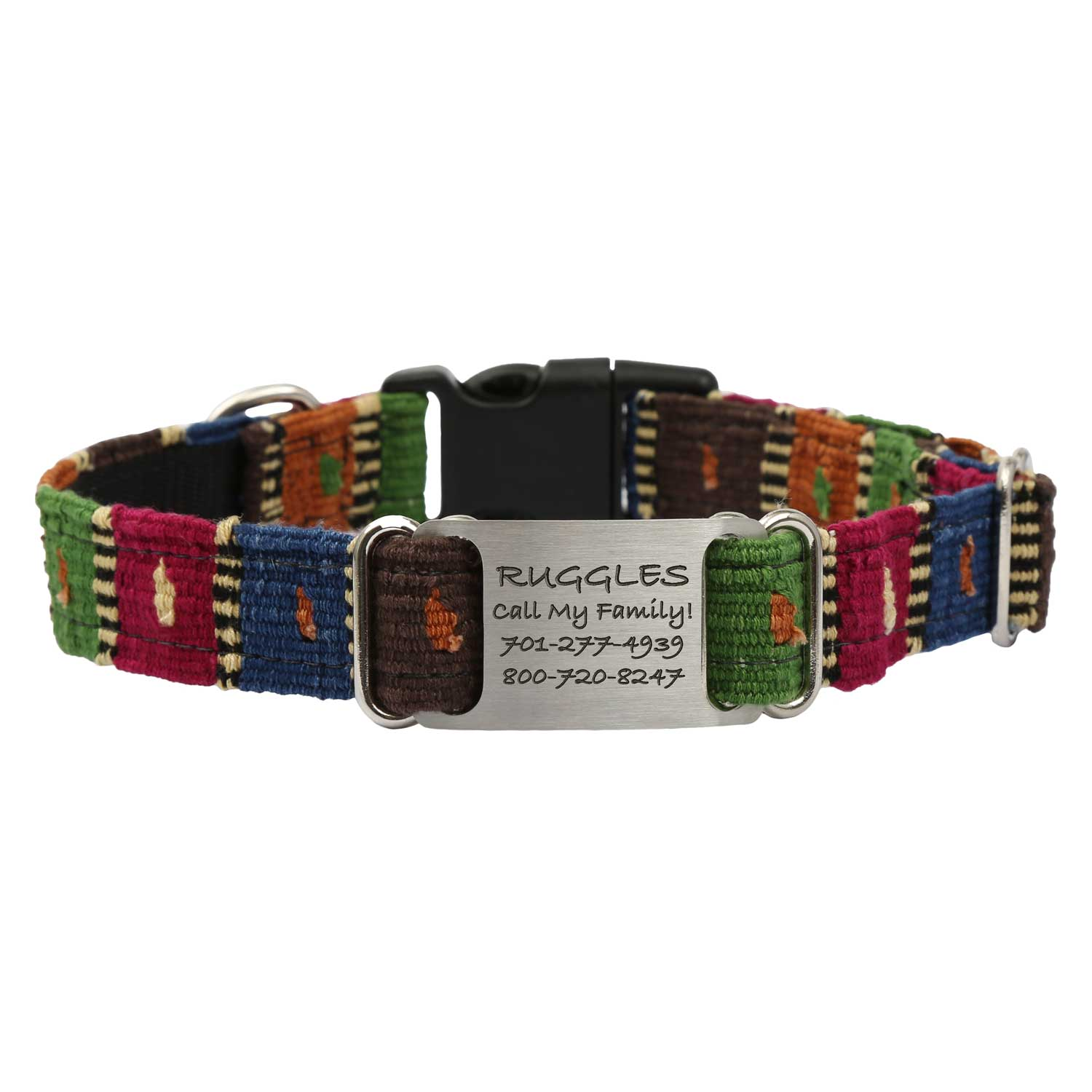 Personalized Maya Woven ScruffTag Dog Collar - Checkers