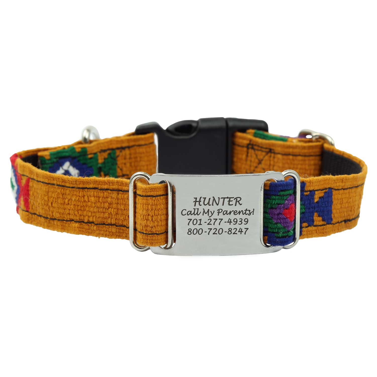 Personalized Maya Woven ScruffTag Dog Collar - Southwest