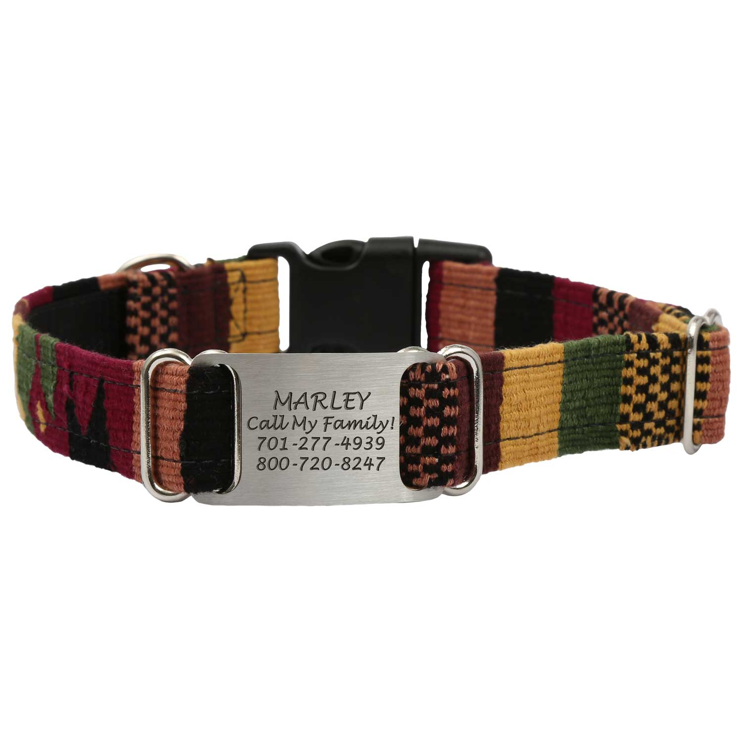 Personalized Maya Woven ScruffTag Dog Collar - Earth