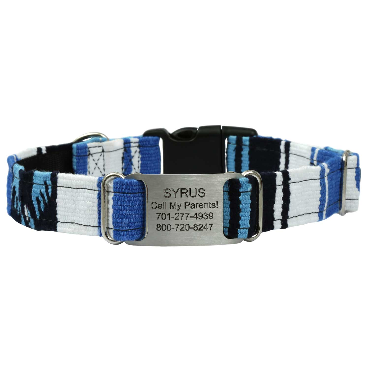 Personalized Maya Woven ScruffTag Dog Collar - Ocean