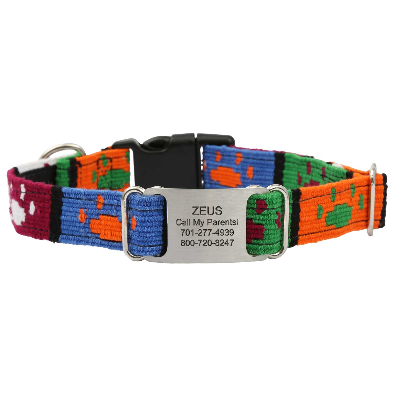Personalized Maya Woven ScruffTag Dog Collar - Paw Prints
