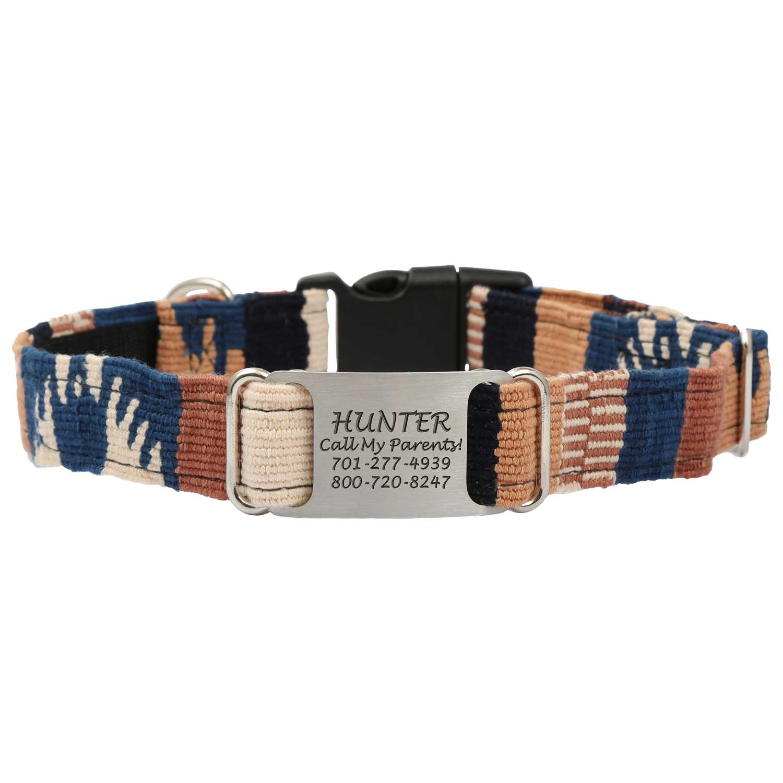 Personalized Maya Woven ScruffTag Dog Collar - Western