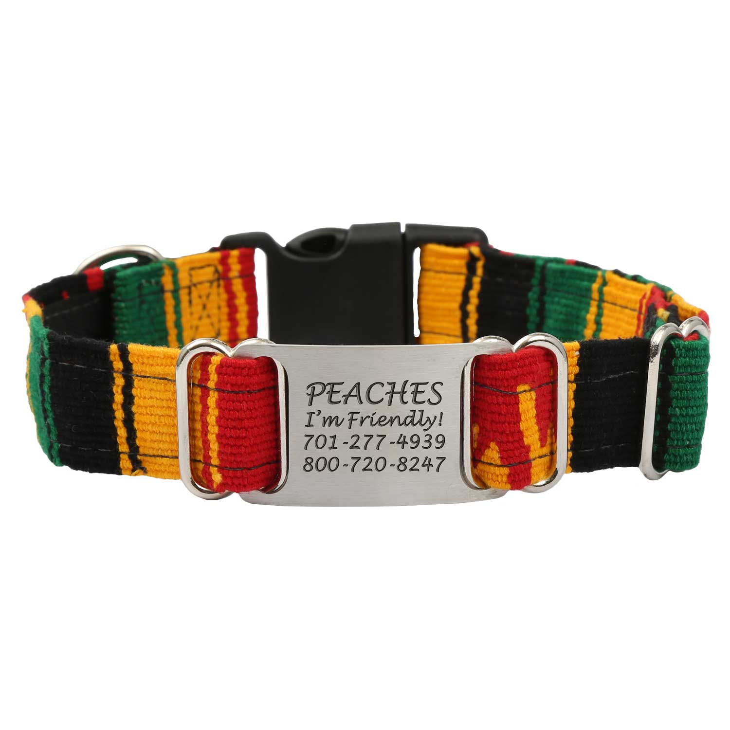 Personalized Maya Woven ScruffTag Dog Collar - Rasta