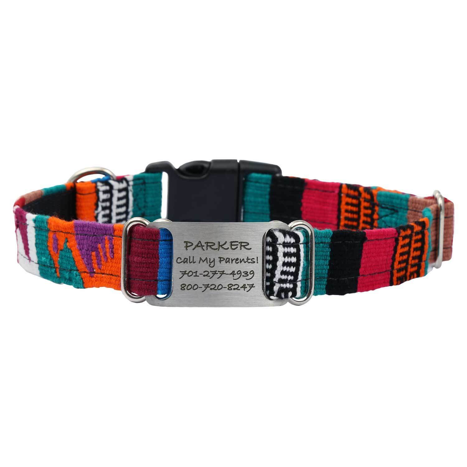 Personalized Maya Woven ScruffTag Dog Collar - Multi 1
