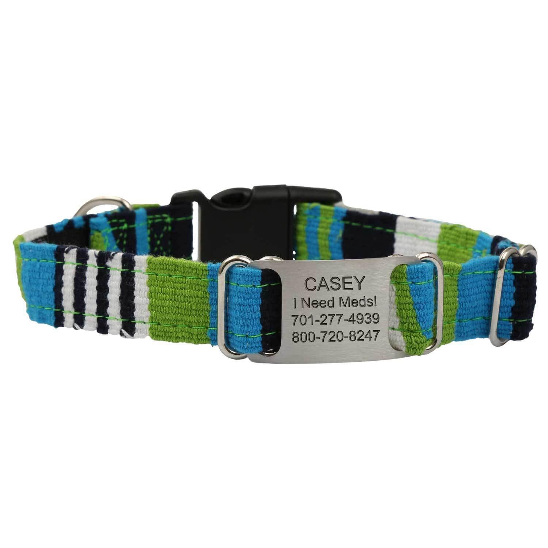 Personalized Maya Woven ScruffTag Dog Collar - Atlantic