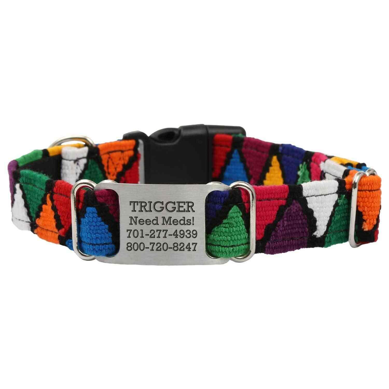 Personalized Maya Woven ScruffTag Dog Collar - Diamonds