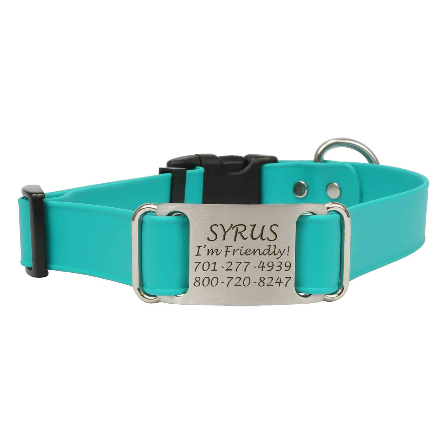 Quick Release Waterproof ScruffTag Collar Teal Front