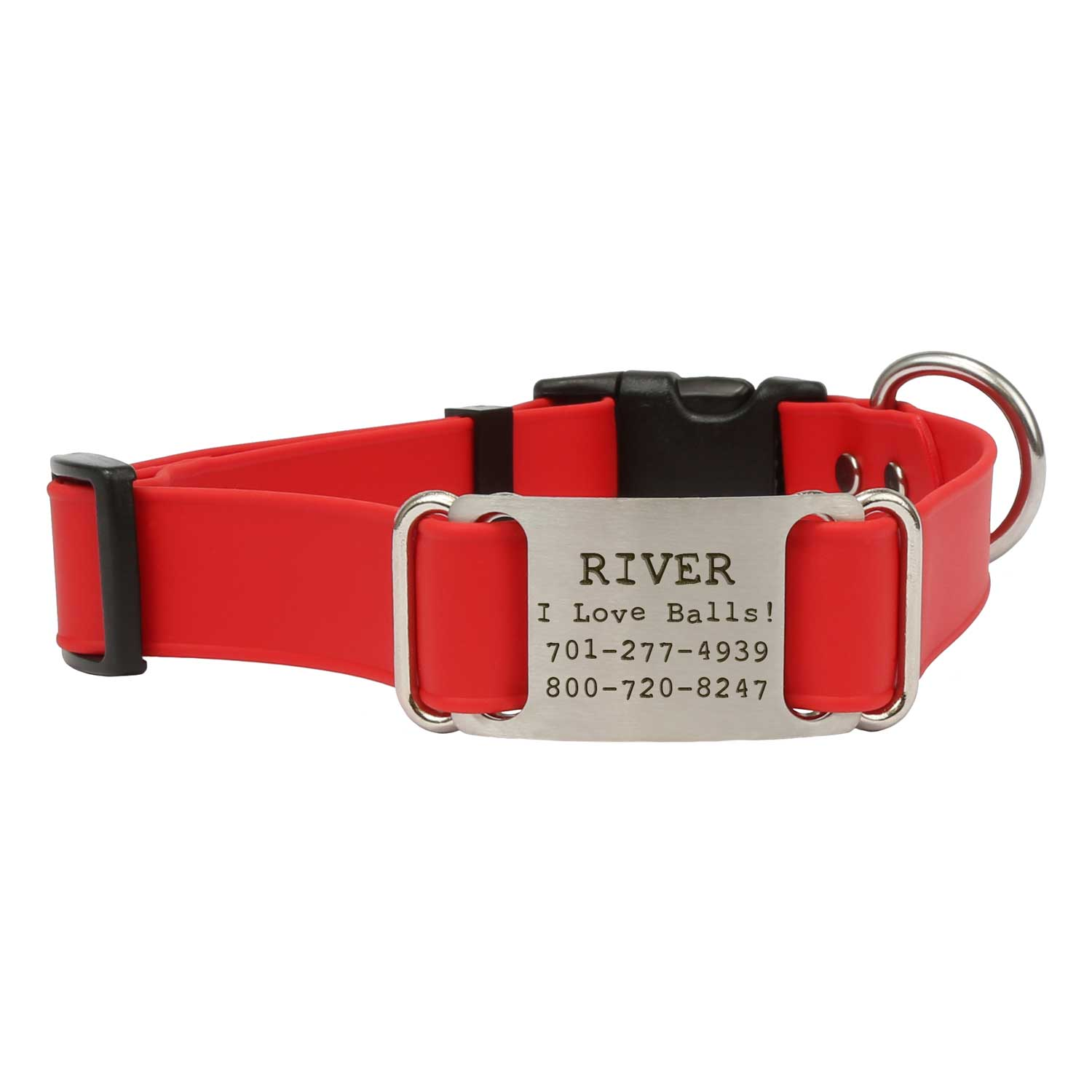 Quick Release Waterproof ScruffTag Collar Red Front