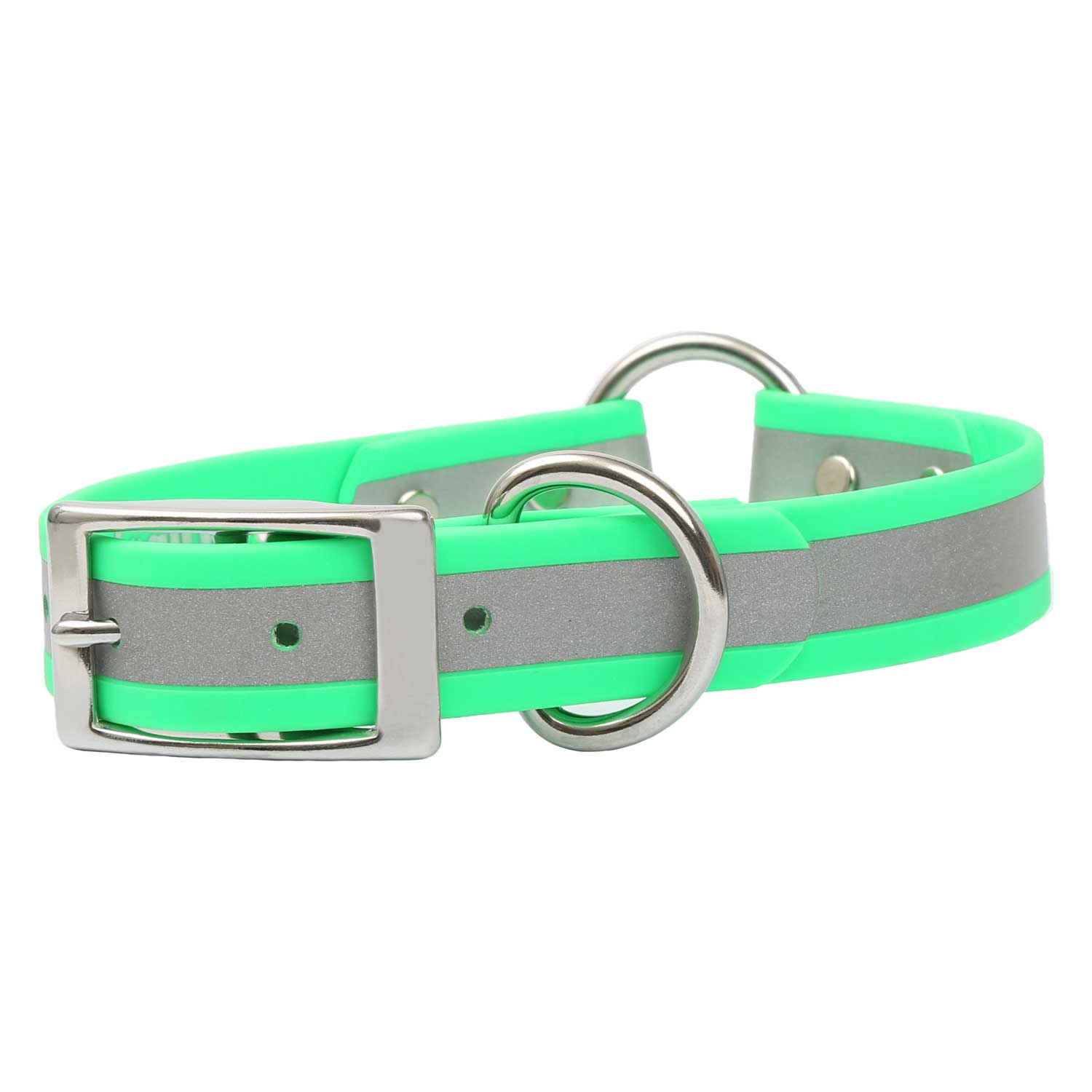 Reflective Waterproof Safety Collar - Green Side View