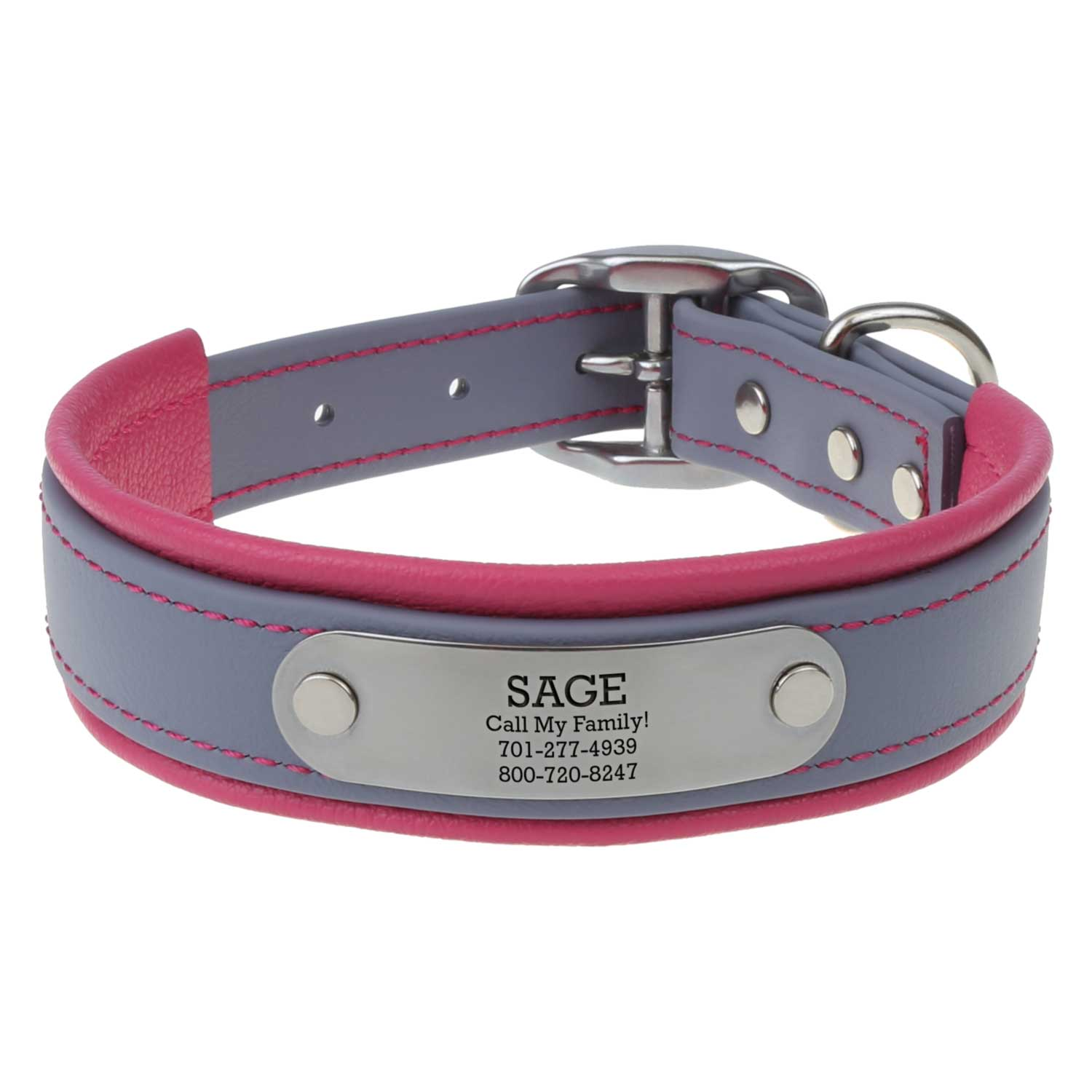 Fusion Artisan Padded Dog Collar with Nameplate Gray with Pink Padding Front View